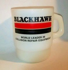 Blackhawk Collision Tools Mug Fire King Anchor Hocking Rare Ribbed Bottom