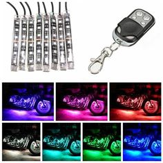 a143de46f73 8pcs Motorcycle SportBike Strip RGB LED 5050SMD Remote Glowing Multi Color  Lights Worldwide delivery. Original