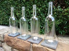 Tea Light Candle Holders Hurricane Lamps made from wine bottles by ConversationGlass, $38.00