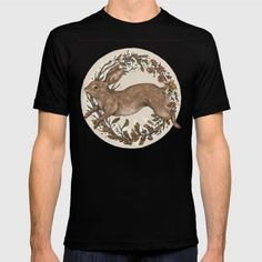 (Unisex Rabbit T-Shirt) #A #An #Animals #Four #Illustration #Leaping #Nature #Of #Painting #Rabbit #Seasons #The #Through is available on Funny T-shirts Clothing Store   http://ift.tt/2fL924b