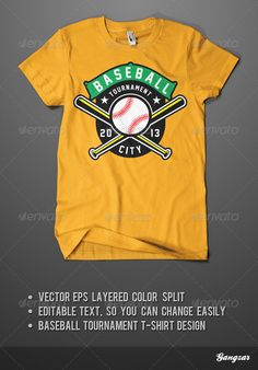 #Baseball Tournament #T-Shirt - #Sports & Teams T-Shirts Download here: https://graphicriver.net/item/baseball-tournament-tshirt/4431933?ref=alena994