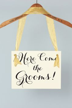 Gay Wedding Sign | Here Come The Grooms | Hanging Banner