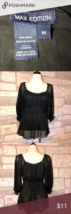 Max Edition peasant tunic black top SZ M 100% polyester peasant bohemian tunic. It's sheer, has a built in lining top, and ties in the back so you can adjust the waist. MAX EDITION Tops Tunics