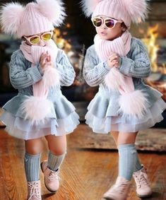 Shop hottest hat of the season! Buy knitted fur hat for infants or w born baby girls at valuable price. Your baby will stay warm and cozy during winter. Little Girl Outfits, Little Girl Fashion, Toddler Outfits, Kids Outfits, Newborn Outfits, Fashion Kids, Toddler Fashion, Fashion Clothes, Dress Clothes
