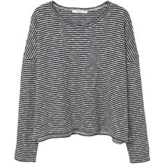 MANGO Striped Cotton T-Shirt ($40) ❤ liked on Polyvore featuring tops, t-shirts, round top, striped top, stripe tee, long sleeve t shirts and cotton t shirts
