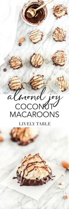 Almond Joy Coconut Macaroons are as easy to make as they are delicious! They are the perfect dessert for Valentine's Day or everyday! Healthy Dessert Recipes, Easy Desserts, Baking Recipes, Cookie Recipes, Delicious Desserts, Coconut Desserts, Vegetarian Snacks, Paleo Baking, Candy Recipes