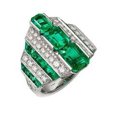 "CARTIER. ""Lofoi"" Ring - platinum, three step-cut emeralds from Afghanistan totaling 4.50 carats, calibrated emeralds, brilliant-cut diamonds. #Cartier #RésonancesDeCartier #2017 #HauteJoaillerie #HighJewellery #FineJewelry #Emerald #Diamond"