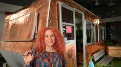 Hairdresser Chelsea De Main dubs caravan salon Fancy Nancy to take her services to festivals | HeraldSun in her copper caravan