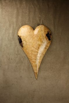 Hand-made carved wooden heart.