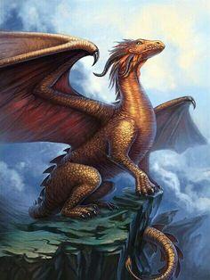 Golden Dragon by schastlivaya - Alexandra Schastlivaya Magical Creatures, Fantasy Creatures, Fantasy Dragon, Fantasy Art, Dragon's Lair, Dragon Artwork, Dragon Pictures, Dragon Rider, Dragons