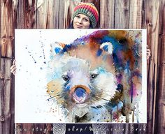 """Wombat watercolor painting print, Wombat art, animal art, animal watercolor, Wombat illustration, Wombat painting, safari art, art print  Buy two Get one FREE! Special offer! Buy two print and get one free(of the same size). Send me the links of the 3 posters that you have chosen in the """"notes to seller"""" section You will receive the three prints that you have selected for the price of 2.  This is a print of my original painting. Printed especially for you!  Item DESCRIPTION SIZE: Standard…"""