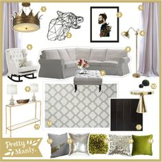 Combination of gold and white with good art & interesting lighting. Modern home decor. Mixing expensive items with inexpensive ones to get a cohesive and interesting look!