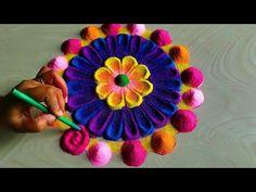 Navratri durga Pooja rangoli design/rangoli for Diwali Lakshmi Pooja Easy Rangoli Designs Videos, Rangoli Designs Simple Diwali, Diwali Special Rangoli Design, Easy Diwali Rangoli, Rangoli Designs Latest, Rangoli Designs Flower, Small Rangoli Design, Rangoli Border Designs, Rangoli Ideas