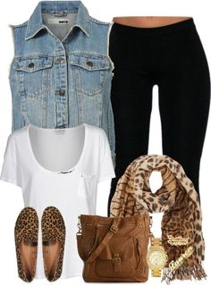 Super cute and comfy outfit with black leggings, denim vest, white tee, and pops of animal print in the shoes and scarf