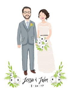 Custom Couple Wedding Portrait & Print by kathrynselbert on #Etsy #etsyfind