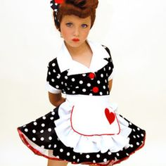 """Katie's Quilts and Crafts: """"I Love Lucy"""" Toddler Costume Pageant Wear, Pageant Girls, Pageant Dresses, Baby Pageant, Toddler Costumes, Girl Costumes, Dance Costumes, 50s Outfits, Girl Outfits"""