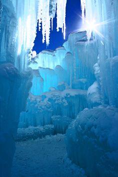 The Ice Castles shine in the day light in Breckenridge
