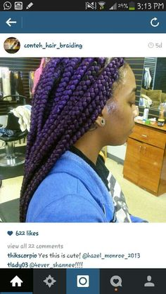 Creative Hairstyles, Funky Hairstyles, Weave Hairstyles, Purple Braids, Box Braids Styling, Coily Hair, Faux Locs, Colorful Hair, Crochet Braids