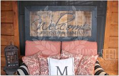Hand Painted Rustic Wood Vintage Style - Reclaimed Wood Welcome Friends & Family…