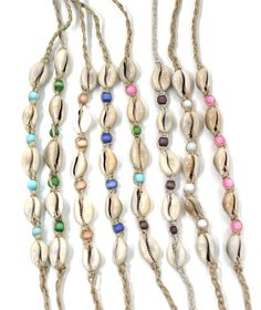 Good Fortune Cowrie Shell Anklets - Seashell Jewelry - Beach Party Favors - California Seashell Companhy