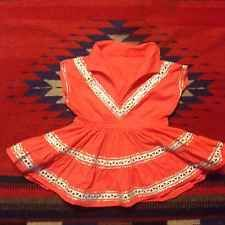 Vintage 1940s Girls Salmon Pink Western Indian Rockabilly Blouse Dress