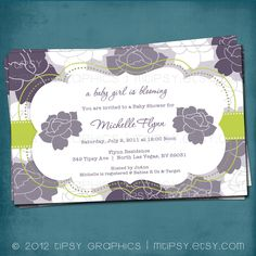 Roses and Stripes Shabby Chic Baby / Bridal Shower Invitation.  Customized for your Baby or Bridal Shower by Tipsy Graphics anniversary save the date printable baby bridal announcement party digital invitation invite surprise shower diy modern invite rose birthday photo card flower purple lilac lavender lime green MTipsy 14.00 USD
