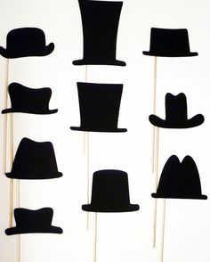 I like the idea of adding a hat or two to photo booth stick props. I could see these getting embellished with a few clock gears or maybe some other interesting doodads (bronze chain, feathers, faux rivets, etc.).