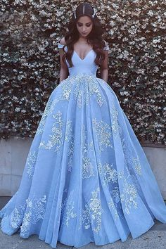 Wedding Dresses Lace High Neck Something Blue: 21 Blue Wedding Gowns For your Happy Wedding blue wedding dresses ball gown off the shoulder lace saidmhamadofficia Princess Prom Dresses, Pretty Prom Dresses, Prom Dresses Blue, Dress Prom, Dress Long, Evening Dresses, Elegant Dresses, Quince Dresses, Bridal Dresses