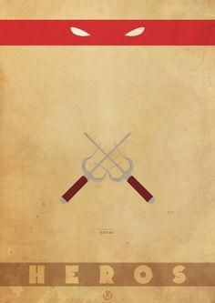 Posters minimalistas das Tartarugas Ninjas 2