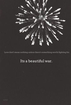*Love Means Nothing Unless There Is Something Worth Fighting For...* - Kings Of Leon/Beautiful War