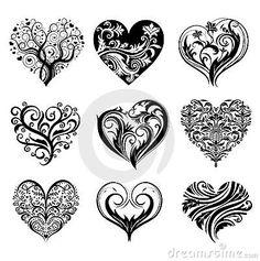 scroll hearts | Tattoo Hearts Royalty Free Stock Photo - Image: 14932865