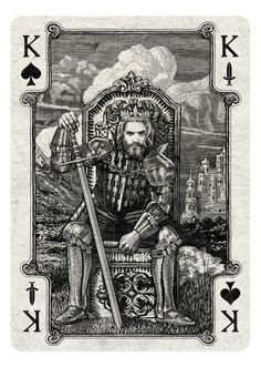 Chris Ovdiyenko is raising funds for Arcana Playing Cards on Kickstarter! Playing cards inspired by the Tarot. Arcana is a new deck of custom hand-drawn playing cards printed by USPCC. Playing Card Tattoos, Playing Cards Art, King Card, King Of Spades, Sphinx, Cartomancy, Art Design, Gravure, Deck Of Cards