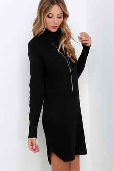 No need to be shy, the Once Smitten Black Turtleneck Sweater Dress is sure to catch you compliments left and right