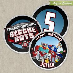 Transformers Rescue Bots Printable Birthday 2 in. Labels
