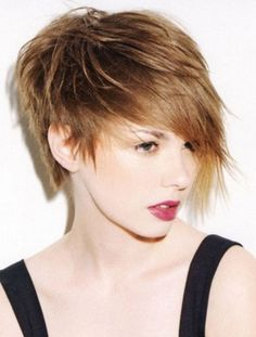Short asymmetrical shag haircut