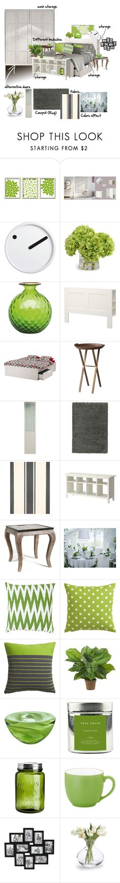 Ikea bedroom for Marie by soofiia on Polyvore featuring interior, interiors, interior design, home, home decor, interior decorating, H&M, Noritake, Nina Campbell and CB2