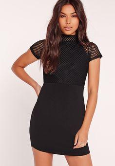 Missguided - Fishnet Curved Hem Mini Dress Black