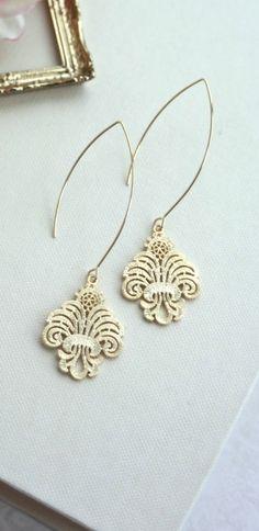 Gold Filigree Moroccan Long Dangle Earrings by Marolsha.