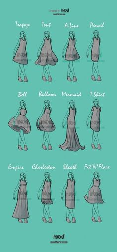 All About Dress Silhouettes | There are so many kinds of dresses out there that it can be a little daunting trying to wrap our heads around their little differences, and so we wanted to collect a handful of some of the more well-known and popular styles and provide some insights about their designs and what makes them each unique! #dressesmaking