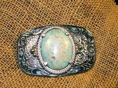 Vintage 60s Western Belt Buckle Turquoise and silver by dagutzyone, $28.00