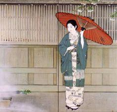 Kajiwara Hisako 梶原緋佐子 (1896-1987) Ideyu no ame いでゆの雨 (Rain at the hot springs) - 1931