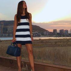Fashionable Splicing Stripe O-neck Sleeveless Short Dress