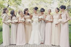love love love the similar but different bridesmaids dresses! Simple and elegant.