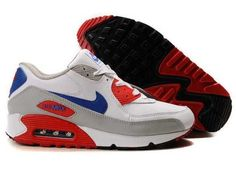 online store c64b1 19ebd Ken Griffey Shoes Nike Air Max 90 White Grey Red Blue Nike Air Max 90 -  For a lot of people, the Nike Air Max 90 White Grey Red Blue shoes are ...