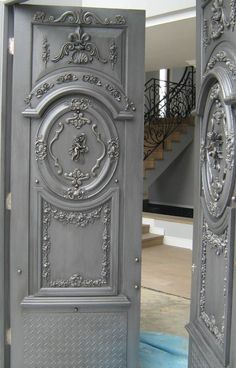 Grey front doors. Classical powerful and amazing