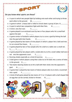 Sport 4 - English ESL Worksheets for distance learning and physical classrooms Teach English To Kids, Teaching English, Learn English, English English, Sports Crossword, Sport English, Conversational English, English Activities, Sports Activities