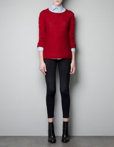 SWEATER WITH CABLE KNIT SLEEVES