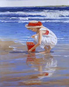 Child playing in the Beach│Painting by Sally Swatland Garden Painting, Am Meer, Art Installation, Beach Scenes, Beach Art, Pictures To Paint, Watercolor Paintings, Beach Paintings, Watercolours