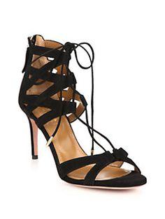 Aquazzura - Beverly Hills Suede Lace-Up Sandals