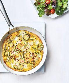 Zucchini & Mozzarella Frittata recipe from Real Simple Magazine. Zucchini Frittata, Sauteed Zucchini, Zucchini Squash, Easy Zucchini Recipes, Veggie Recipes, Meal Recipes, Veggie Dishes, Real Simple Recipes, Spicy Grilled Chicken